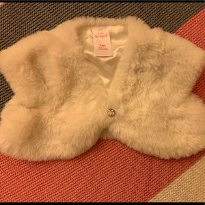 Faux Fur shall with Jewel Button